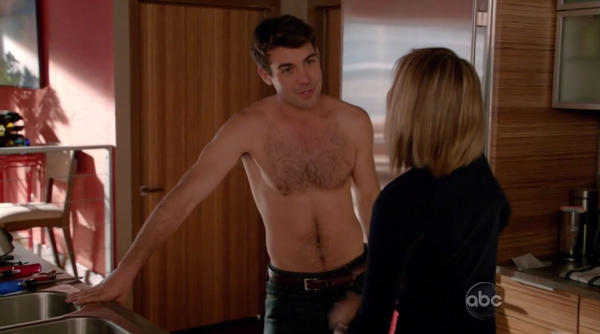 "James Wolk came back to TV with a trio of shirtless roles. Here he is guest starring in ABC's ""Happy Endings."""
