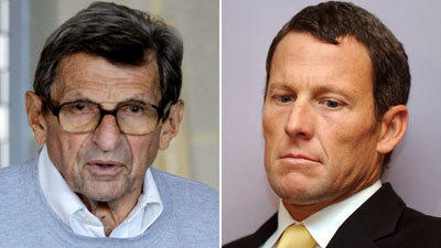 The alleged Penn State coverup of a child sex abuse scandal that led to coach Joe Paterno's downfall and Lance Armstrong's ties to doping, which cost him his seven Tour de France titles, were two of the biggest sports stories of 2012.