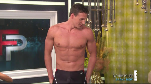 "Ryan Lochte strips for the ""Fashion Police."" <br> <a href=""http://www.redeyechicago.com/entertainment/tv/redeye-olympic-swimmers-shirtless-men-of-week-tv-20120724,0,3886853.photogallery"">More Olympic swimmers</a>"
