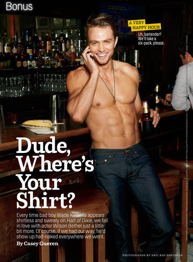 "Wilson Bethel of CW's ""Hart of Dixie"" in his Cosmo spread. <br><a href=""http://www.redeyechicago.com/entertainment/tv/redeye-wilson-bethel-cress-williams-shirtless-men-of-the-week-20111016,0,1283129.photogallery"">More Wilson Bethel</a>"