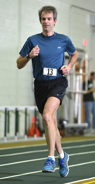 Matt McDonald of Hagerstown was the men's champion in 3:16:24 at the Hawk Indoor Marathon on Monday.