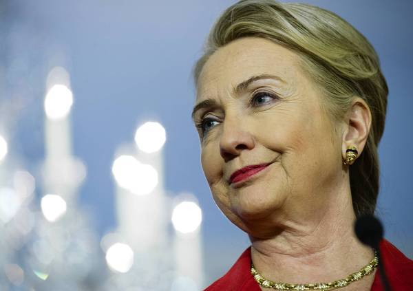 Secretary of State Hillary Rodham Clinton was hospitalized Sunday with a blood clot. Doctors said her outlook was good.