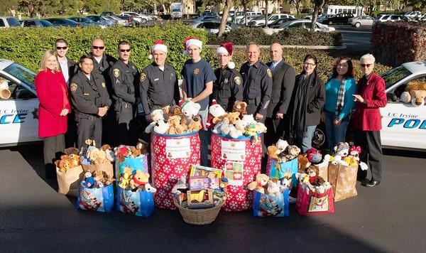 UC Irvine police collected hundreds teddy bears and other toys from drop-off locations around campus during their 2012 donation drive.