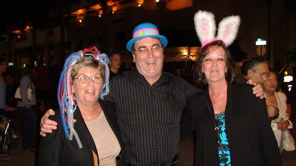 Cheryl Ryder (left), Bob Ryder and Valerie Ayer celebrate New Years Eve Downtown Countdown in Fort Lauderdale