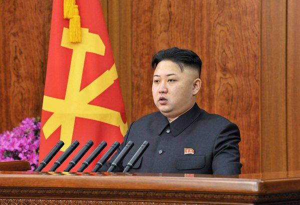 A photo released by the North Korean Central News Agency on Tuesday shows North Korean leader Kim Jong Un delivering a New Year's Day address in Pyongyang, North Korea.