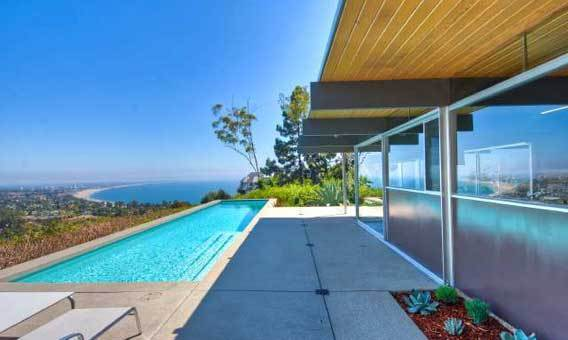 The Sidney R. Troxell house, designed by Modernist architect Richard Neutra, has city, coastline and mountain views.