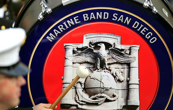 The U.S. Marine Corps West Coast Composite Band, which is composed of three Marine Bands from around Southern California, marches down Colorado Boulevard.