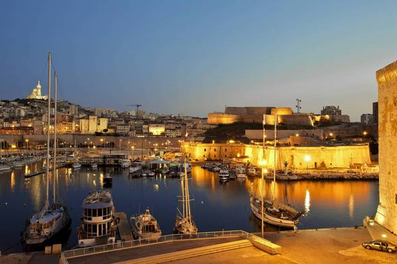 Europe, France, Bouches-du-Rhone, Marseille, Fort Saint Nicolas in the night