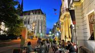 People at a cafe at the cathedral St. Elisabeth in the evening, Kosice, eastern Slovakia, Europe