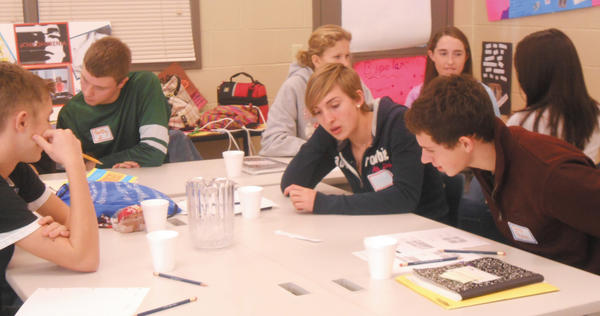 Members of the current Leadership Franklin County Youth class work out solutions to proposed problems.