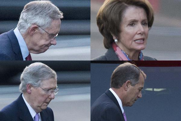 n this combination of photographs, Senate Majority Leader Harry Reid of Nevada, House Minority Leader Nancy Pelosi of California, Senate Minority Leader Mitch McConnell of Kentucky. and House Speaker John Boehner of Ohio leave the White House separately in Washington, Friday, Dec. 28, 2012, after a closed-door meeting between President Barack Obama and Congressional leaders to negotiate the framework for a deal on the fiscal cliff. The end game at hand, President Barack Obama and congressional leaders made a final stab at compromise Friday to prevent a toxic blend of middle-class tax increases and spending cuts from taking effect at the turn of the new year.