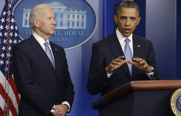 "President Barack Obama, with Vice President Joe Biden, speaks after the House voted on a bill to avert the ""fiscal cliff."""