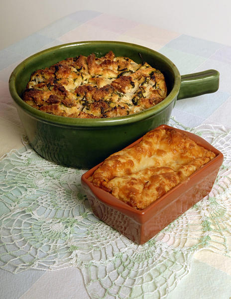 Spinach and Roquefort bread pudding, top, combines leafy greens with a blue-veined cheese to create a moist and tender pudding. At bottom, a more savory companion to soup and salad is cheesy pepperoni pizza quick bread.