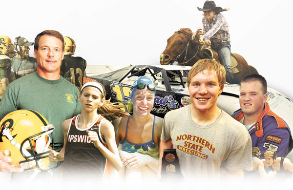 Roncalli football coach Terry Dosch, Ipswich runner Macy Heinz, Aberdeen Central swimmer Hannah Kastigar, Northern State wrestler Matt Meuleners, dirt-track auto racer Chad Becker of Aberdeen and (top) Timber Lake freshman Tatum Ward and her horse, Scooter, all had Rare Moments in sports in 2012.