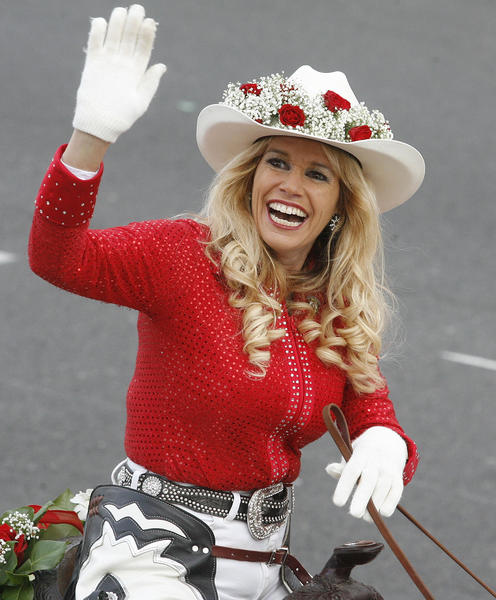 A rider with the Norco Cowgirls Rodeo Drill Team at the 2013 Rose Parade in Pasadena on January 1, 2013.