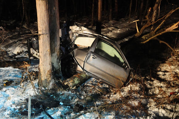 A crash on SR93 in Nesquehoning was first reported just after 11 p.m. on Tuesday night by a passing motorist who reported finding a car ripped in half and a person lying along the roadway. The engine of the car was found about 60 ft north of that section in a creek.