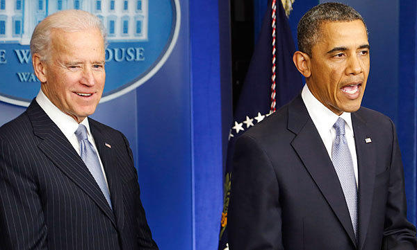 "U.S. President Barack Obama delivers remarks next to Vice President Joe Biden after the House of Representatives acted on legislation intended to avoid the ""fiscal cliff."""