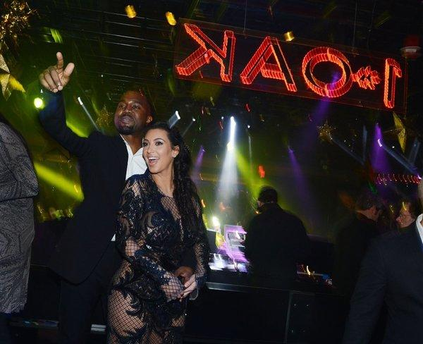 Kanye West and Kim Kardashian celebrate New Year's Eve at the 1 OAK nightclub at the Mirage in Las Vegas.