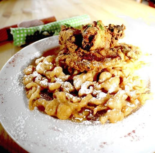 Fried chicken and funnel cake at d.b.a./café in Fort Lauderdale.