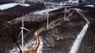 An aerial view of the Twin Ridges Wind Farm.