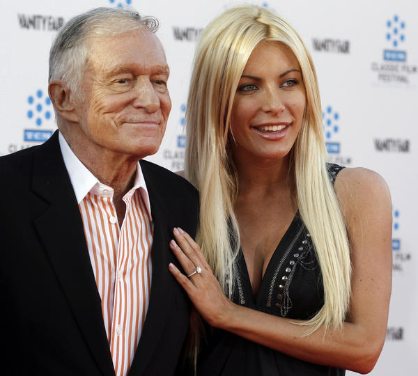 Hugh Hefner and his fiancee, Playboy Playmate Crystal Harris, arrive at the opening night gala of the 2011 TCM Classic Film Festival. Hefner and Harris wed on New Year's Eve. It's Hefner's third marriage.