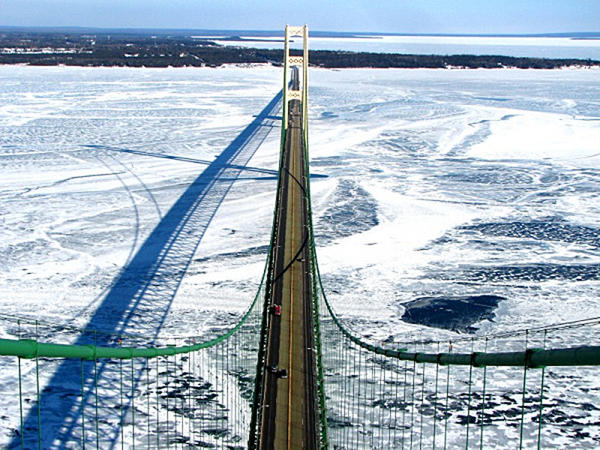 A winter view of the Straits of Mackinac from the top of the Mackinac Bridge in this February 2007 file photo.