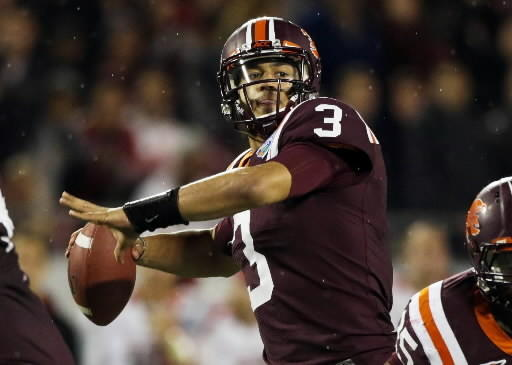 Logan Thomas throws against Rutgers