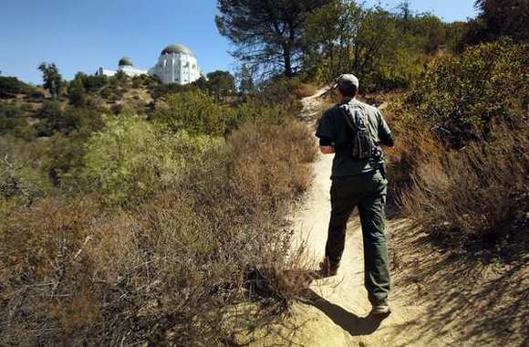 Jeff Sikich, wildlife biologist with the National Park Service, walks a trail in Griffith Park near the observatory.