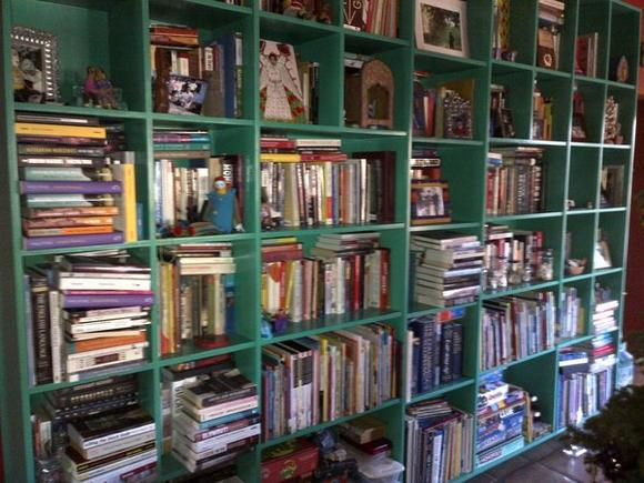 Bookshelves in chaos