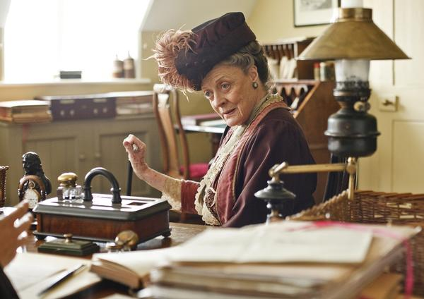 "Maggie Smith plays Violet, the Dowager Countess of Grantham in Julian Fellowes' television series ""Downton Abbey."""