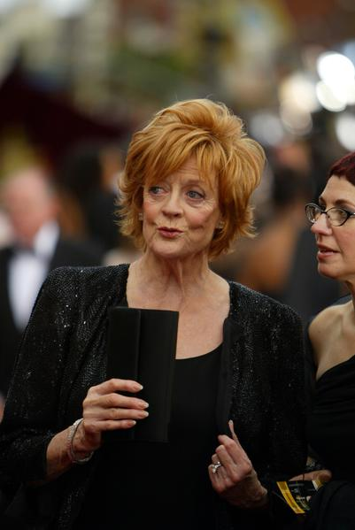 "Maggie Smith arrives at the 74th Academy Awards at the Kodak Theatre on March 24, 2002. She was nominated for her supporting actress role in ""Gosford Park."""