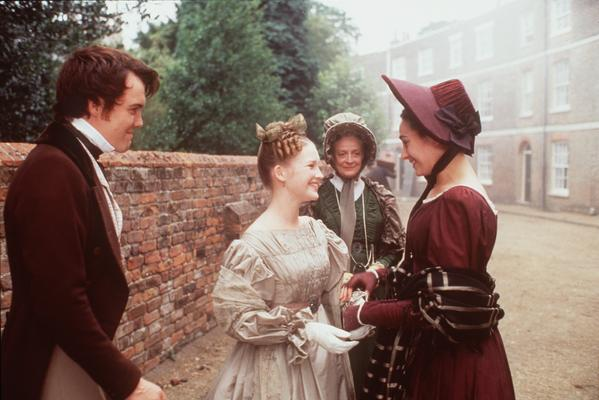 "Left to right, Ciaran McMenamin as David Copperfield, Joanna Page as Dora Spenlow, Maggie Smith as Betsey Trotwood and Amanda Ryan as Agnes Wickfield in the TV film ""David Copperfield."" Smith was nominated for a supporting actress Emmy for her role."