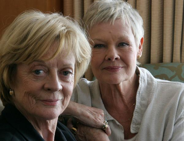 "Maggie Smith, left, and Judi Dench promote their film ""Ladies in Lavender"" in New York on April 21, 2005."