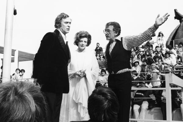 "Film director Herbert Ross, right, is shown on the set of his film ""California Suite""  with stars Maggie Smith and Michael Caine on May 8, 1978. The comedy also starred Jane Fonda, Alan Alda, Bill Cosby, Walter Matthau and Richard Pryor."