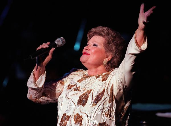 Singer Patti Page, pictured during a 1998 performance in Cerritos, died on New Year's Day at age 85.