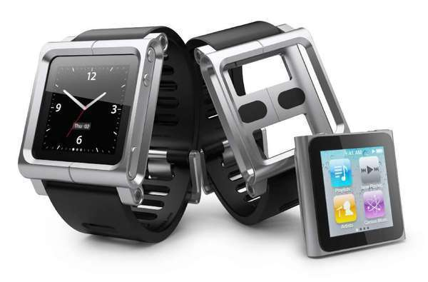 Apple may be working on a Bluetooth wristwatch, an analyst says. Above, the LunaTik, an accessory sold by a third party that turns an iPod Nano into a watch.