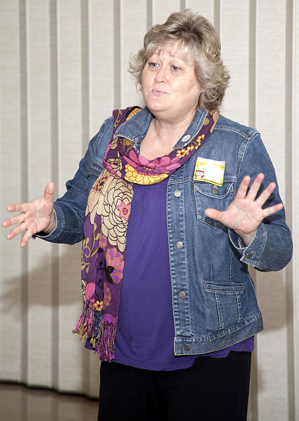 Candace DeVore tells Bombs Away, a story about a memory of her dad, at a Christian Storytelling Cafe get-together.