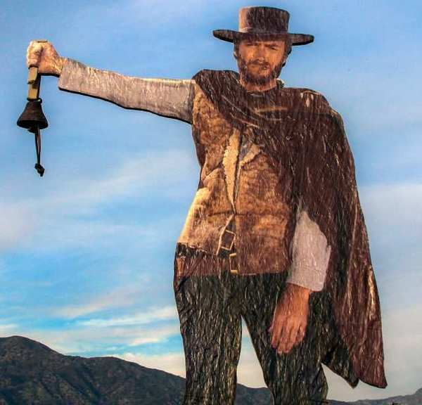 The cutout of Clint Eastwood that stood for months in the San Rafael Hills was recently given the addition of a bell and a plaque on the back inviting visitors to ring the bell and commit to becoming an organ donor. The cutout has since disappeared.