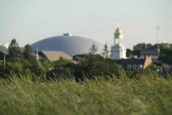 The dome of UConn's Gampel Pavilion is seen from atop Horsebarn Hill in Storrs. Both the university and the town of Mansfield have plans to grow in the coming years.
