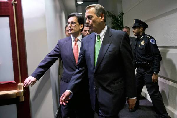 House Majority Leader Eric Cantor (R-Va.), left, and House Speaker John A. Boehner (R-Ohio).
