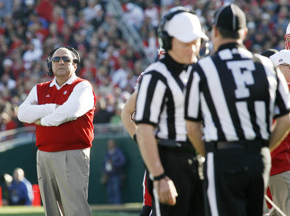 The referees meet under the watch of Wisconsin head coach Barry Alvarez at the 99th Rose Bowl in Pasadena on Tuesday, January 1, 2013. Sanford beat Wisconsin 20-14 which was the third time in a row Wisconsin had lost the Rose Bowl, and Stanford ended a 40 year stretch since their last win.