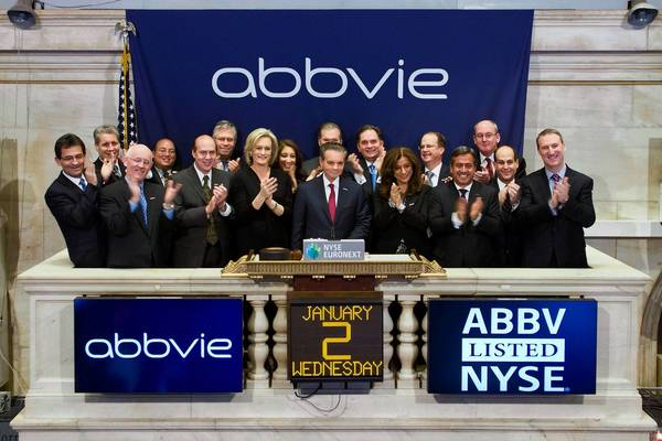 Richard Gonzalez, CEO of AbbVie Inc., rings the opening bell Wednesday at the New York Stock Exchange.