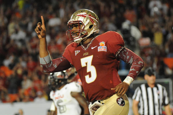 Florida State quarterback EJ Manuel celebrates his touchdown against Northern Illinois during the second half of the Discover Orange Bowl on Tuesday, January 1, 2013, in Miami Gardens, Florida. (Jim Rassol/Sun Sentinel/MCT) ORG XMIT: 1133175