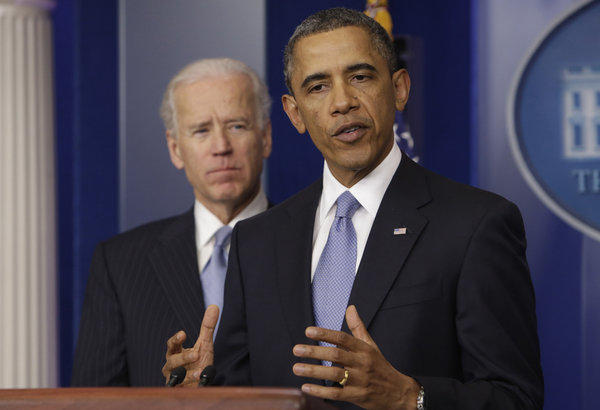 """President Obama makes a statement after the """"fiscal cliff"""" deal."""
