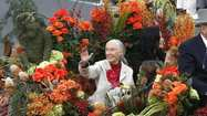 Goodall on the Rose Parade wave, football and honoring the earth