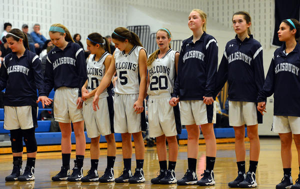 Salisbury's girls basketball team lines up before a girls high school basketball game held at Salisbury High School on Wednesday.