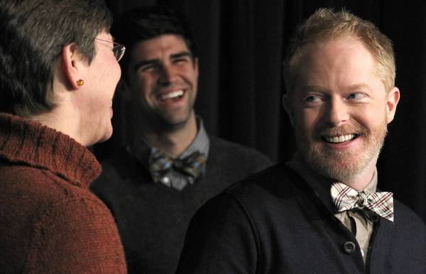 "Lt. Gov. Sheila Simon is joined Wednesday by Jesse Tyler Ferguson, right, of ABC's ""Modern Family"" and his fiance, Justin Mikita, as they urge supporters in the state to make their voices heard on the Illinois marriage equality bill."