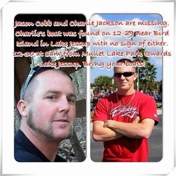 Jason Cobb, left, and Charlie Jackson of Volusia County went missing after launching a fishing boat on Lake Jesup.