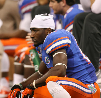 Florida Gators tight end Omarius Hines looks dejected on the sidelines during the Allstate Sugar Bowl game between the Florida Gators and the Louisville Cardinals at Mercedes-Benz Superdome on January 2, 2013 in New Orleans, Louisiana.