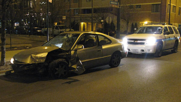 This car hit a concrete planter box early Jan. 3.
